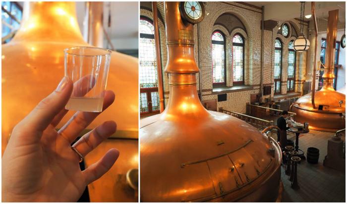 Wort sample | Mash tanks | Copper kettles | The Heineken Experience in Amsterdam | the Netherlands | Heineken Brewery | brewery tour | VIP tasting | beer | Amstel | Brand | Affligem | Heineken 41 | beer tasting