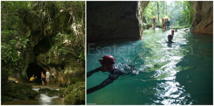 Swimming into the entrance of the ATM Cave in Belize | Map | San Ignacio, Belize | Cayo District | Tapir Mountain Nature Reserve | Actun Tunichil Muknal | Maya | Mayan archaeological site | skeletal remains | Cave of the Sone Sepulcher | Pacz Tours