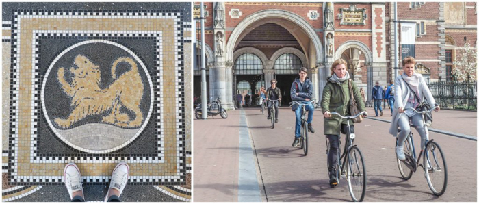 Mosaic floor interior of the Rijksmuseum | bicyclists outside | 3 days in Amsterdam, Netherlands | Zodiac | Leo