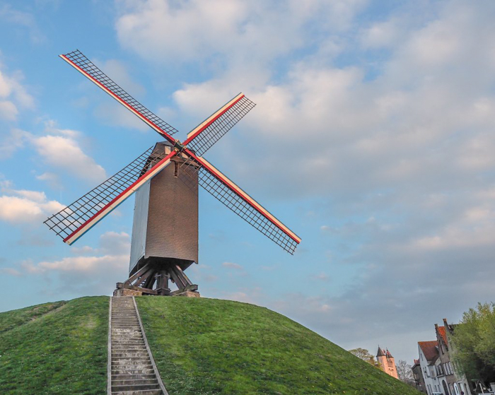 Windmills around the corner from St. Christopher's Inn Bruges, Belgium | Hostel at the Bauhaus