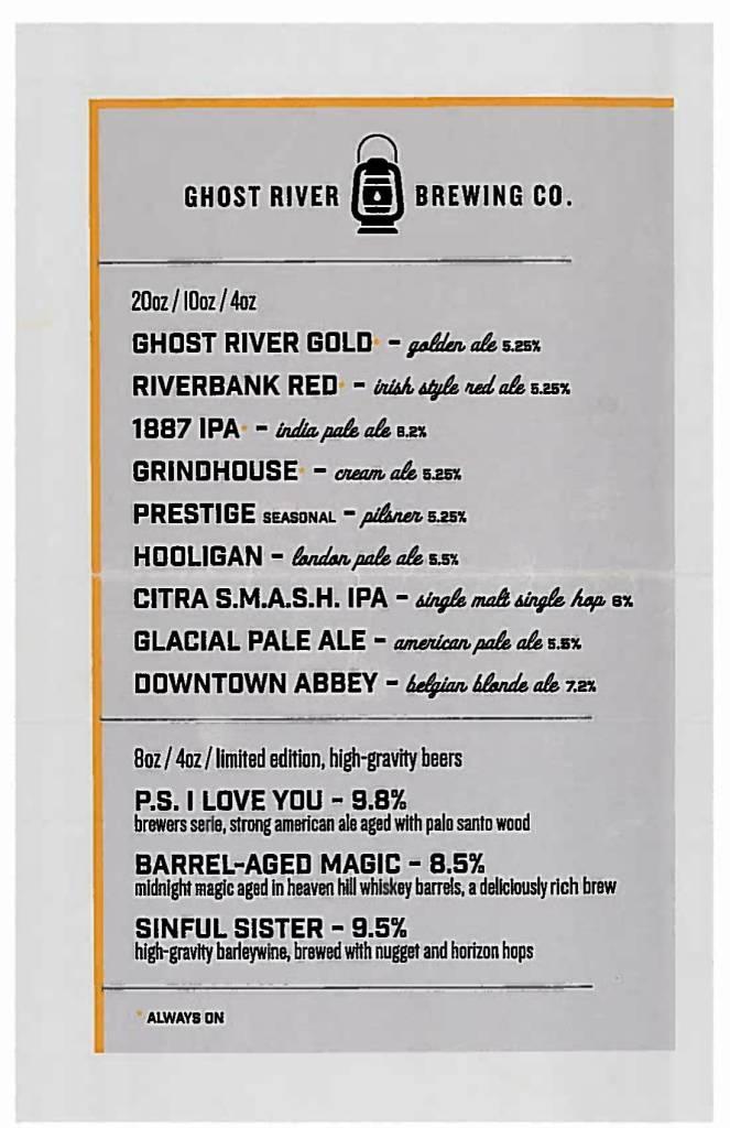 Memphis craft breweries   Ghost River Brewing Co.   Craft beer in Downtown Memphis, Tennessee   Ghost River taproom   beer flights   Beer menu