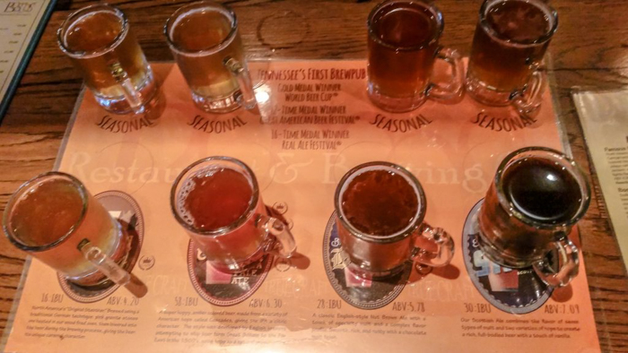 Memphis craft breweries | Bosco's Restaurant and Brewing Co. | Craft beer in Overton Square, Midtown Memphis, Tennessee | Beer flight