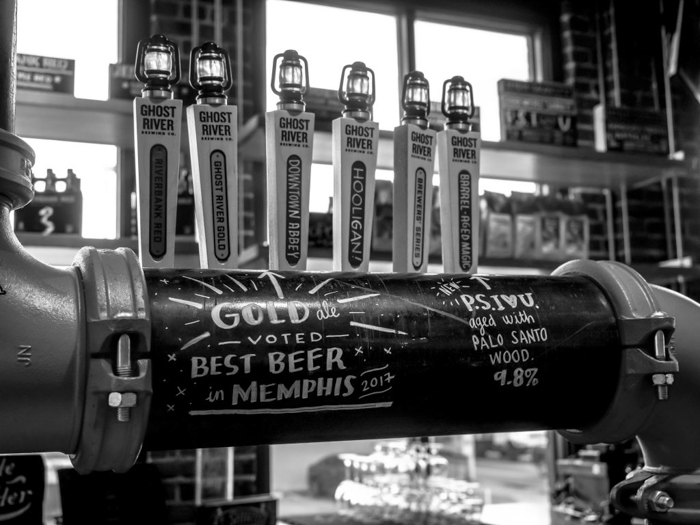Memphis craft breweries | Ghost River Brewing Co. | Craft beer in Downtown Memphis, Tennessee | Bar taps