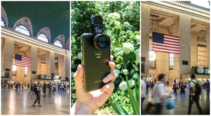 Best travel photography gear for time-budget travelers | Clip on smartphone lenses by Pixter | Telephoto lens | Cell phone camera lenses iPhone and Android | Before and After at Grand Central Station in New York City