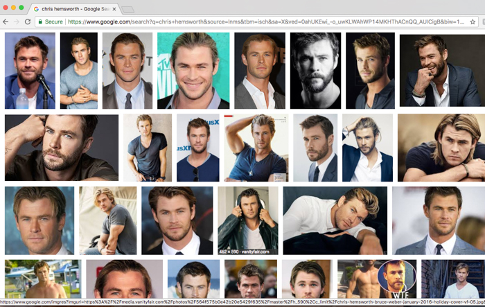Screen shot of a Google search of Chris Hemsworth - to prove he's nothing but gorgeous.