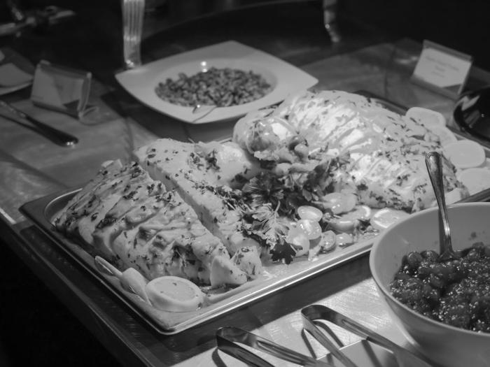 platter of miscellaneous thanksgiving dinner foods