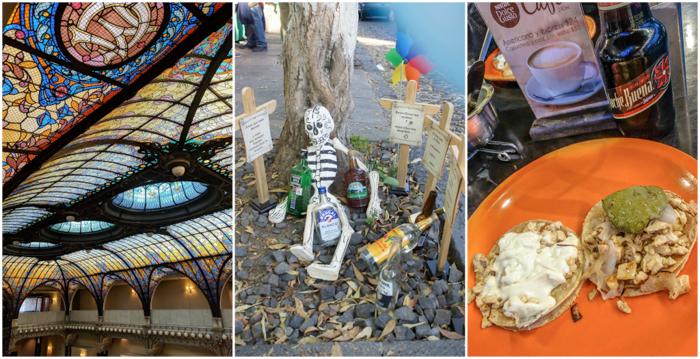 17 Things That Shocked Me in Mexico | Mexico City, Oaxaca de Juarez | Gran Hotel de Ciudad stained glass ceiling | dia de muertos | tacos