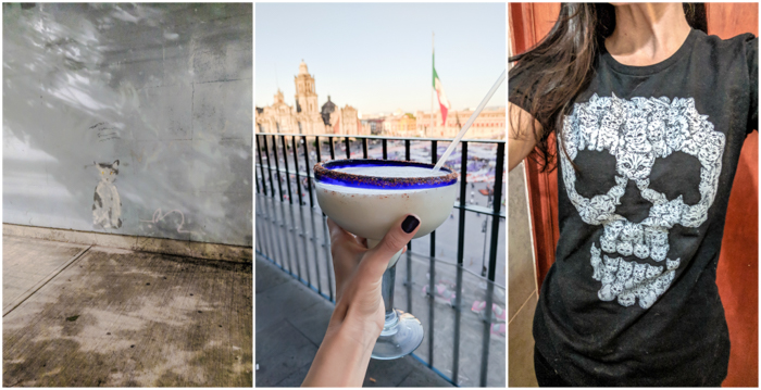 17 Things That Shocked Me in Mexico | Mexico City, Oaxaca de Juarez | cat street art |pina colada margarita at the zocalo | cat skull shirt