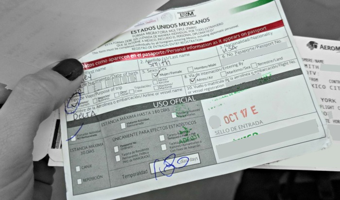 3 days in Mexico City | Mexican immigration form