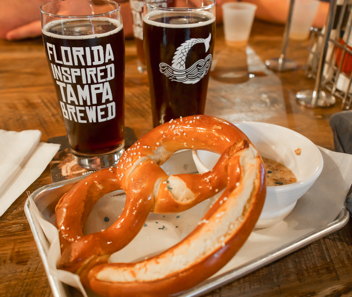 Spend a day in Ybor City | Tampa, Florida | Coppertail brewing company | beer and bavarian pretzel