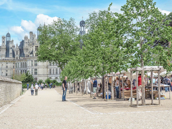 Market around Chateau Chambord, Loire Valley, France