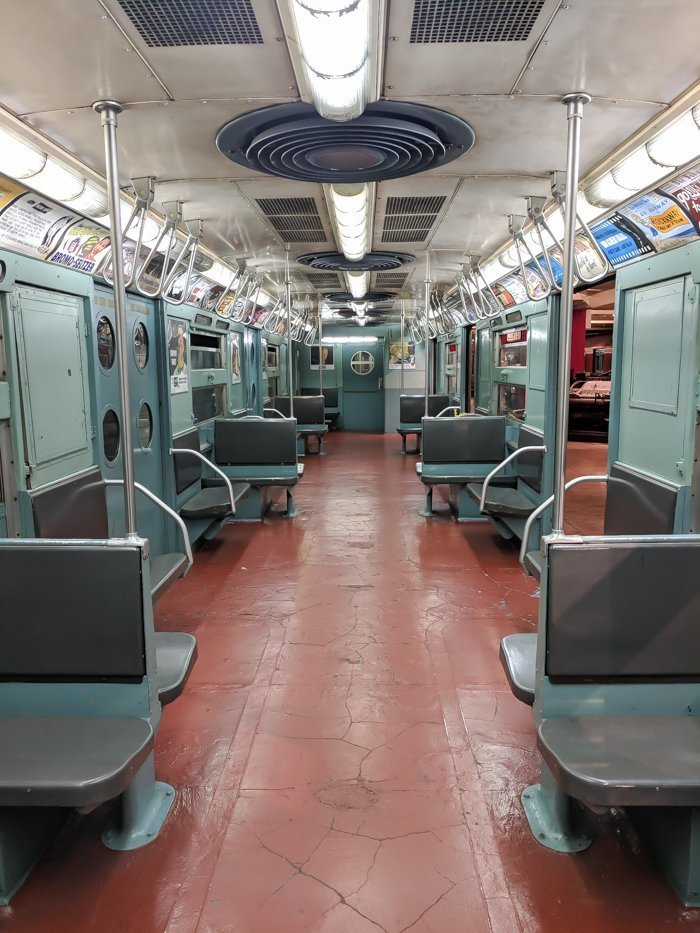 Vintage subway cars at Brooklyn's New York Transit Museum // Underground and Underrated   The best New York City museum you've never heard of   New York City hidden gem   Marvelous Mrs. Maisel 1950s #NewYorkCity #museum #transitmuseum #brooklyn #nycmuseum #traveltip #timebudgettravel