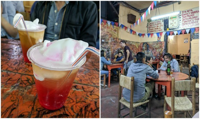 How to Spend One Week in Chile and Cover All the Bases   Trying the signature Terremoto drink at the famous La Piojera dive bar #chile #whattodoinchile #weekinchile #lapiojera #terremoto