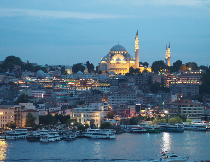 Istanbul skyline views from the rooftop bar, Where to Stay in Istanbul, Turkey: Hotel Momento Golden Horn in Beyoglu / Karakoy. #istanbul #turkey #goldenhorn #wheretostay #hotelreview #hotelmomento #traveltips #beyoglu #karakoy