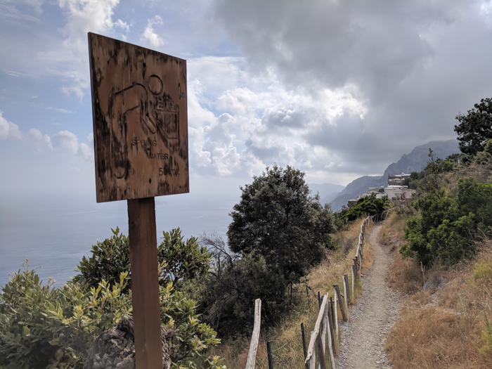 Only stop for water on the hike along the Amalfi Coast | Hiking the Path of the Gods from Sorrento, Italy on the Amalfi Coast | #pathofthegods #sorrento #amalficoast #hiking #italy
