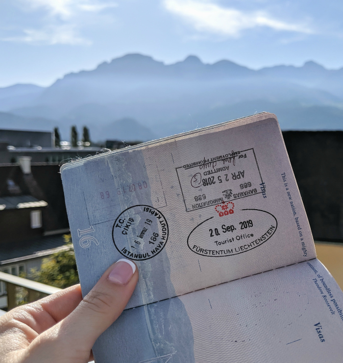 2 days in Liechtenstein passport stamp from the Liechtenstein tourism office in Vaduz