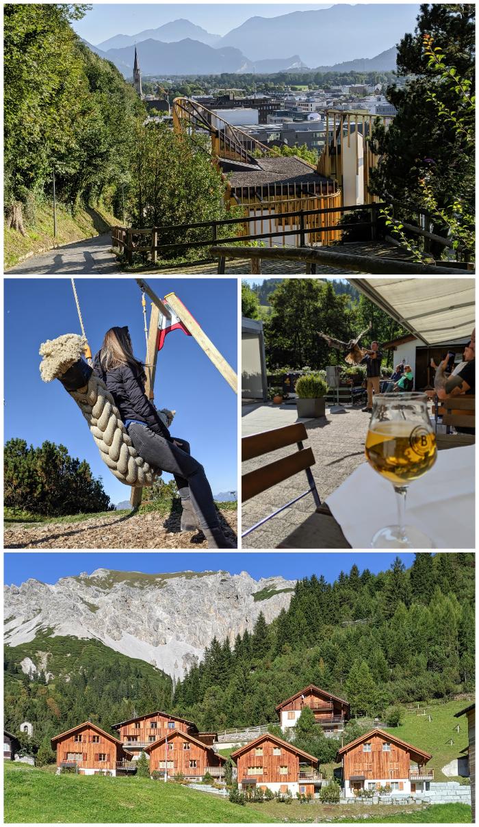 Spending 48 hours in Liechtenstein, hiking to Vaduz castle, outside berggasthaus sareis, the bird of prey show in malbum, alpine homes