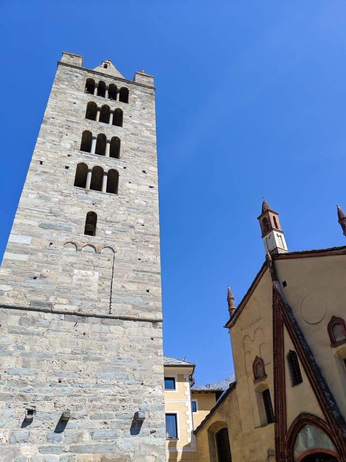 Collegiate Church and Cloister of Saint Orso bell tower | How to Spend 1 Day in Aosta, Italy // The Capital of the Aosta Valley | Things to see in Aosta, Things to do in Aosta, Where to eat in Aosta, the smallest of Italy's 20 regions #aosta #italy #aostavalley #traveltips #timebudgettravel #romanruins #ancient #ruins #church