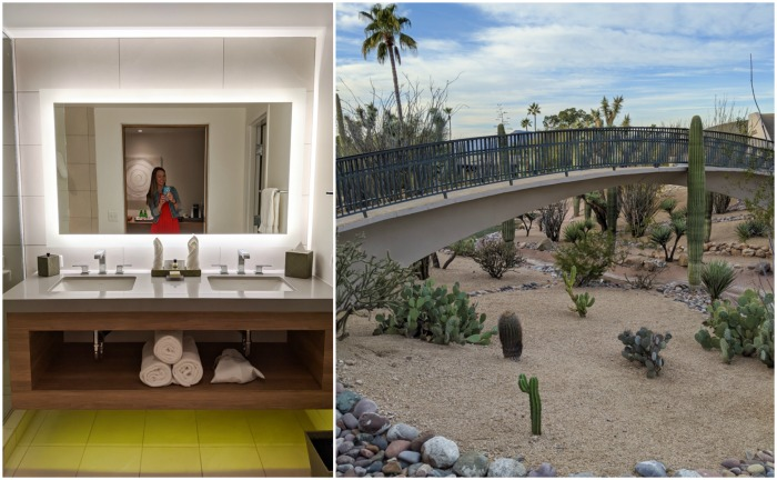 bathroom and cactus garden bridge at Civana Wellness Resort and Spa | Where to Stay in Scottsdale, Arizona for two very different experiences | #civana #spa #scottsdale #arizona #wheretostay