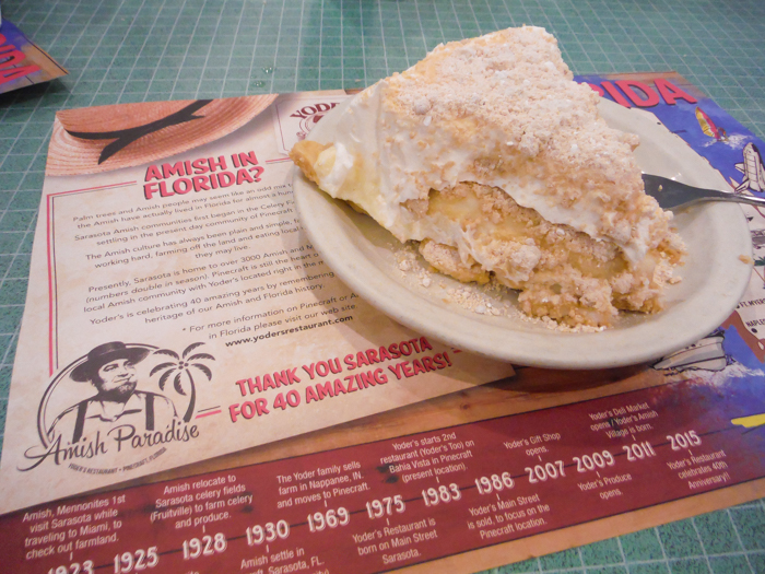Yoder's Amish Restaurant, peanut butter cream pie / 3 days in Sarasota, Florida