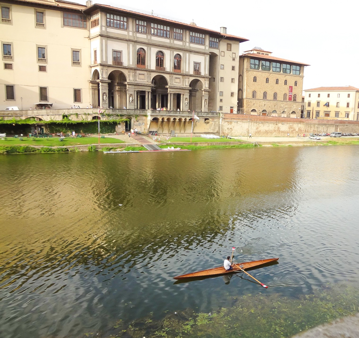 Back of the Uffizi Gallery museum and the Arno river / 2 days in Florence, Italy