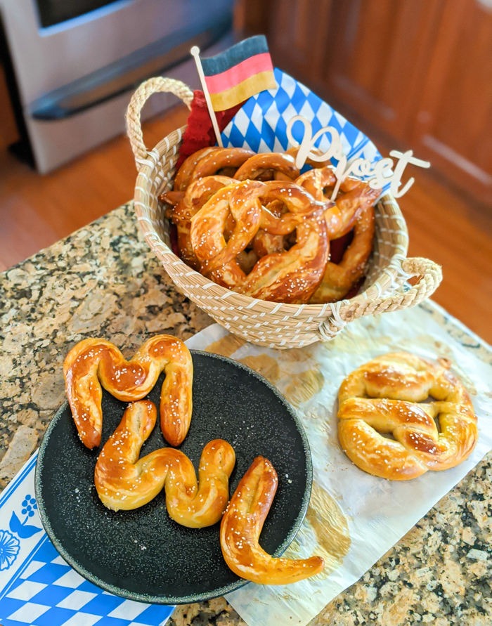 Bavarian soft pretzels in the shape of the letters M W L for My Wanderlusty Life