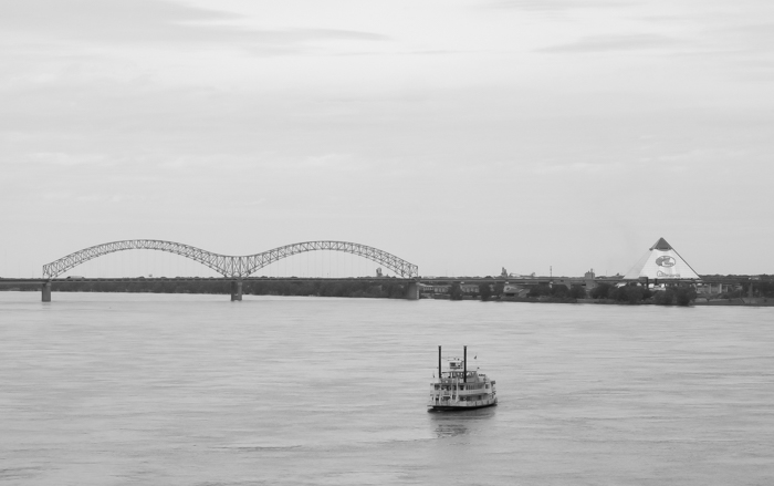 View of Memphis pyramid and bridge from the mississippi river