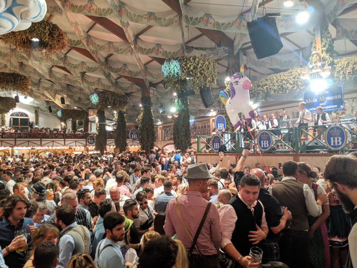 The band in the Hofbrau Festzelt at Oktoberfest in Munich, Germany