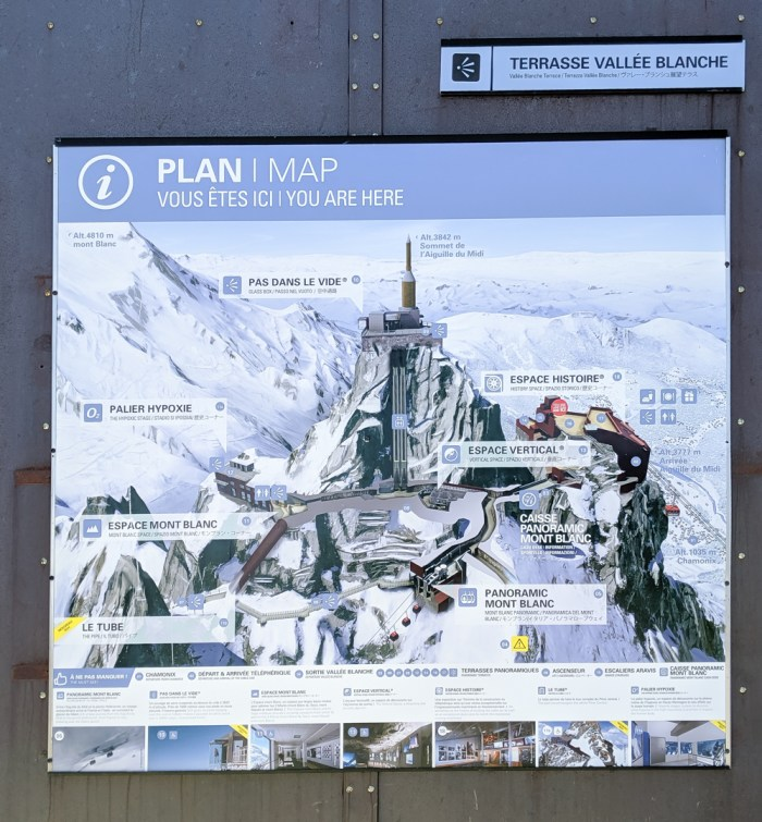 Aiguille du Midi summer visitor's guide, Chamonix, France: map at the top