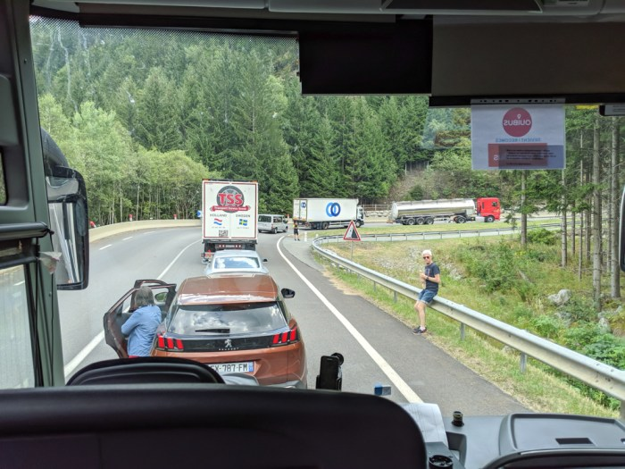 Day trip to Courmayeur, Italy from Chamonix, France / traffic jam on the way