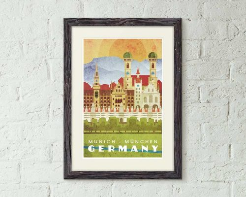 oktoberfest gift ideas, perfect gifts for oktoberfest lovers: vintage style munich travel poster print