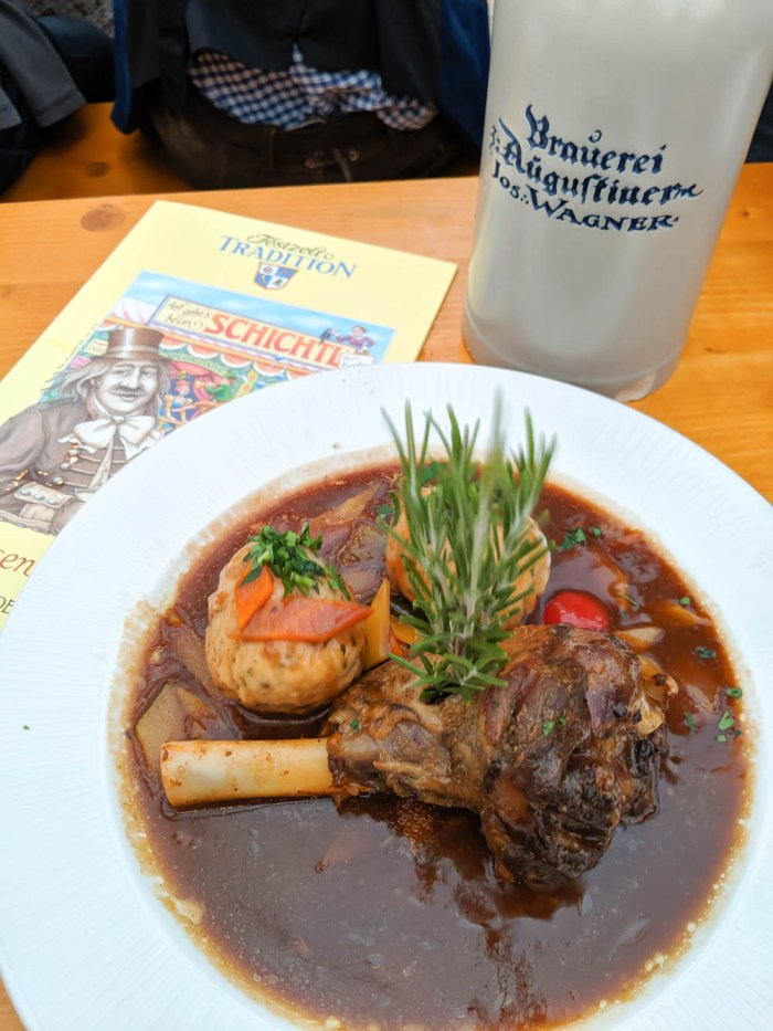 Meal inside Festzelt Tradition | Will Oktoberfest 2021 take place? Is Oktoberfest 2021 going to be canceled? All the info you need to know like what to do, how to plan ahead, official announcements out of Munich, Germany