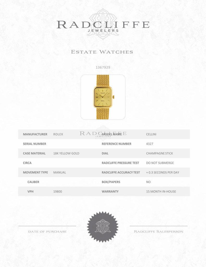 FS- Rolex 4327 Cellini 18 karat Yellow Gold Manual Wind