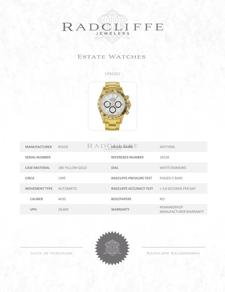 FS- Rolex 16528 W Daytona Zenith White Factory Diamond