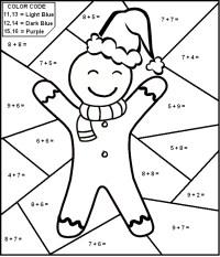 Christmas Worksheet - Color By Number Math Worksheet for ...
