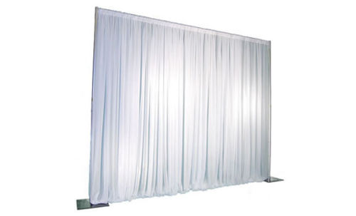 white satin effect pleated curtain backdrop hire