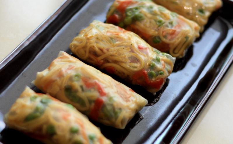 steamed vegetable spring rolls, spring rolls with leftover noodles