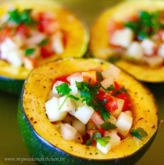 Gem Squash with chunky salsa