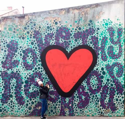 Street graffiti in Budapest old Jewish Quarter