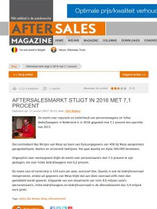 After Sales Magazine - After Sales Markt Stijgt artikel