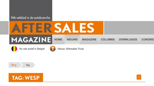 After Sales Magazine website - alle Wesp artikelen