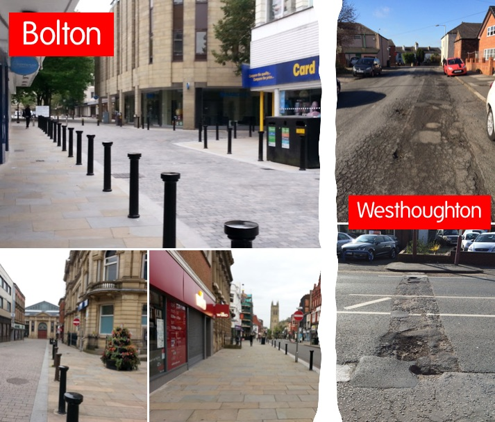Bolton vs Westhoughton: how our roads have been left to crumble