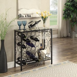 Black and Marble Look Top with 24 Bottles and Glass Holder Wine Organizer Rack Cabinet Kitchen