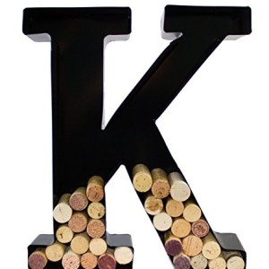Wine Cork Holder - Metal Monogram Letter (K)