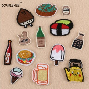 DOUBLEHEE Embroidered Iron On Patches For DIY Cloth Patch Pop Fashion Wine Water Bottle Design Motif Applique Badge Sew On Allow