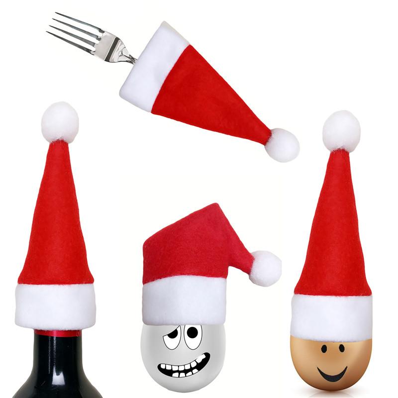 6c87e2405ef46 Santa Hat Christmas Knife Spoon Fork Bags Tableware Silverware ...