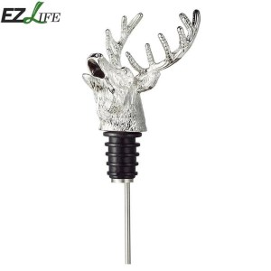 Stainless Steel Deer Stag Head Wine Pourer Unique Wine Bottle Stoppers Wine Aerators Bar Tools Wine Stopper Aerator LPT7376