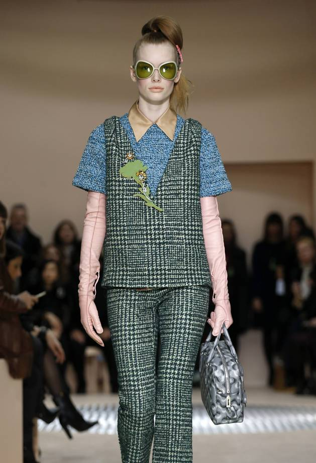 A model displays a creation as part of the Prada Autumn/Winter 2015/16 collection during Milan Fashion Week