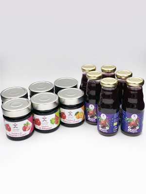 Box della salute con succo di melograno BIO e confetture di melagrane