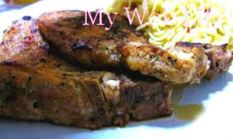 Pork chop in dark rum